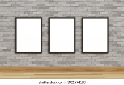Three white poster with black frame mockup on on brick wall. 3d rendering.