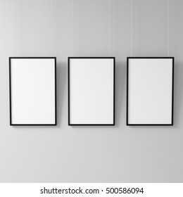 Three White posters with black frame Mockup hanging on the wall, 3d rendering