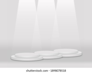 Three white round pedestal podiums that  arranged and contiguous base and white beam.For place goods,cosmetics,cartoon model,design fashion,food,drink,fruit or technical tools.3D illustration.