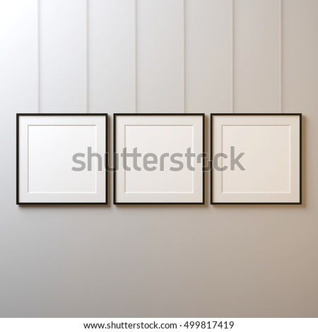 Three White Square Posters Black Frame Stock Illustration 499817419 ...