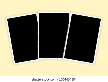 Three white vertical photo frames for photo printing. Collage background.
