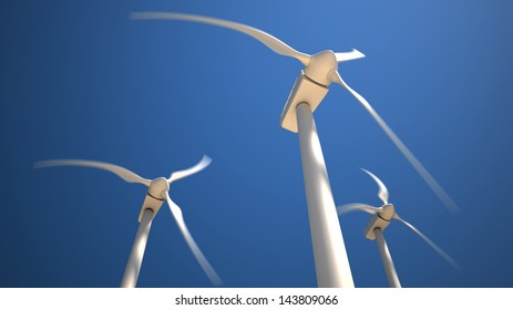 Three white wind turbines with rotating blades on the blue sky background