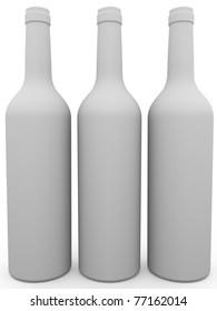 Three white wine bottles. 3d render. Illustration
