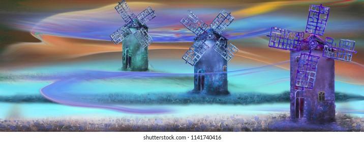 Three wind mills at the night field, oil painting artwork