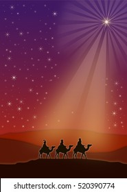 Three wise men (three kings) traveling to Bethlehem are surrounded by a shiny star in the desert
