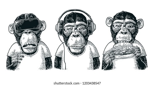 Three wise monkeys in headphones, virtual reality headset and burger. Not see, not hear, not speak. Vintage black engraving illustration for poster. Isolated on white background