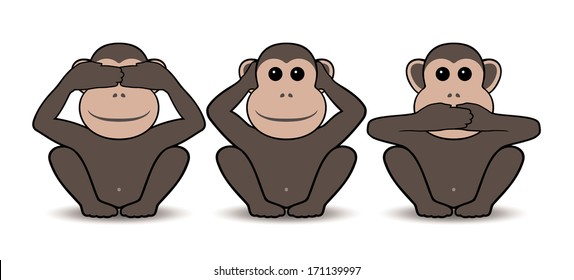 Three wise monkeys. Raster version of EPS image 40905451