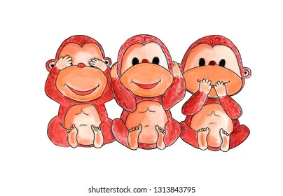 three wise monkeys, see nothing, hear nothing, say nothing