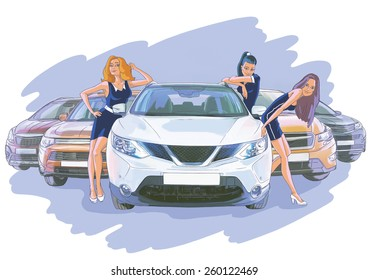Three women near the white car and four cars behind of them on the violet background