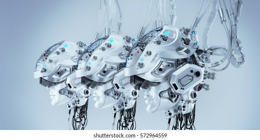 Three women robotic heads in line connected with wires and tubes. 3d render / Women robotic heads in line trio