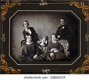 Three women and two men and a sofa, hand painted quarter-plate daguerreotype, ca 1840-1860.