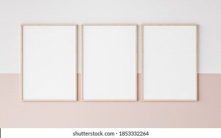 three wooden frames on pink and white wall, frame mockup, 3d render, 3d illustration