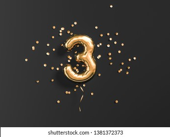 Three year birthday. Number 3 flying foil balloon and gold confetti on black. Tree-year anniversary background. 3d rendering
