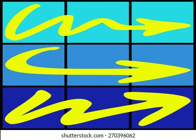 Three yellow arrow on colored background
