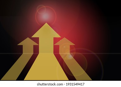 Three Yellow arrow upward on red abstract background. Future ahead concept and competition idea