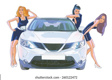 Three young women and the white car