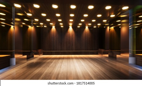 three-dimensional color background for wooden TV studio 3d rendering