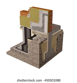 Three-dimensional conceptual image of construction details. Wall and foundation insulation of house. High-quality3D render.