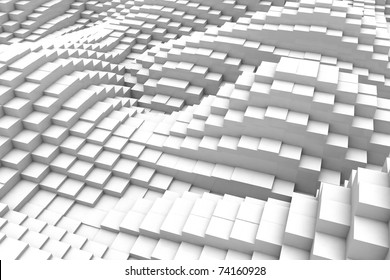 Three-dimensional design from white blocks