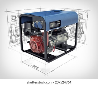 Three-dimensional illustration of a gasoline generator set with engineering drawings and sketches isolated on a white background