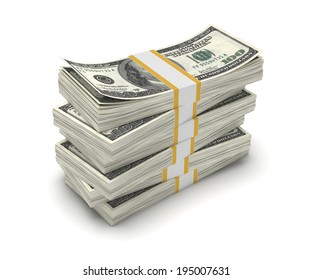 Three-dimensional illustration of stack of dollar USA isolated on white background