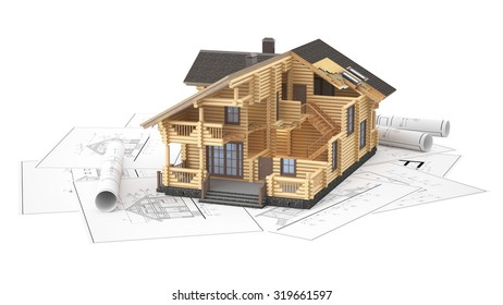 The three-dimensional image of a modern wooden house on a background of drawings. Objects isolated on white background.