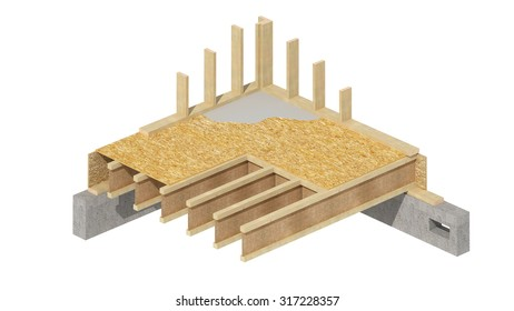 Three-dimensional image of a wooden frame house basement walls.