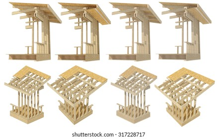 Three-dimensional image of a wooden frame house roof soffit. Both clean and cartoon vesrion of image.