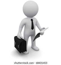 """Three-dimensional man in a black tie with a briefcase and a sheet of paper in his hands.Series """"3D Man"""""""