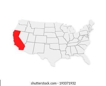 Threedimensional Map California USA 3 D Stock Illustration 195725792 ...