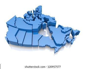 Three-dimensional map of Canada on white background. 3d