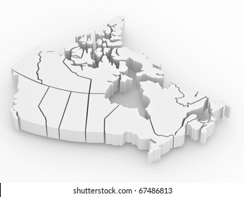 Three-dimensional map of Canada on white isolated background. 3d
