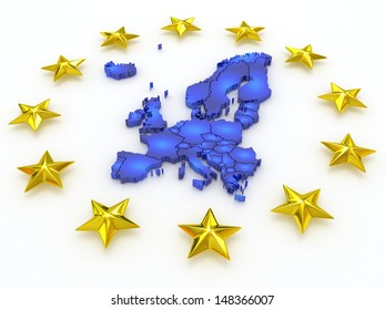 three-dimensional map of Europe. 3d