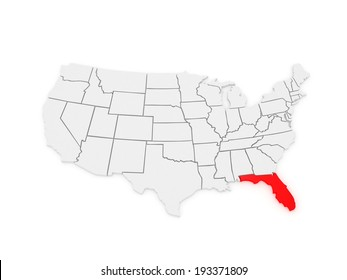 Map Of Florida Usa.3 D White Map United States America Stock Illustration Royalty
