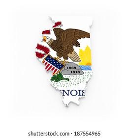 Three-dimensional map of Illinois. USA. 3d