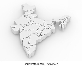Three-dimensional map of India on white isolated background. 3d
