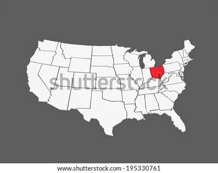 Map Of Ohio Usa.Threedimensional Map Ohio Usa 3 D Stock Illustration 195330761