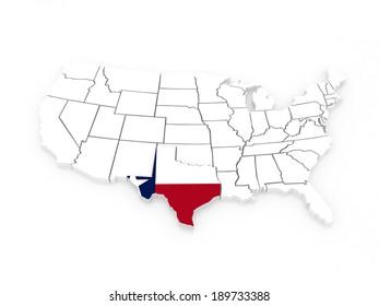 Threedimensional Map Texas USA 3 D Stock Illustration 191467952 ...