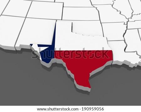 Threedimensional Map Texas USA 3 D Stock Illustration 190959056 ...