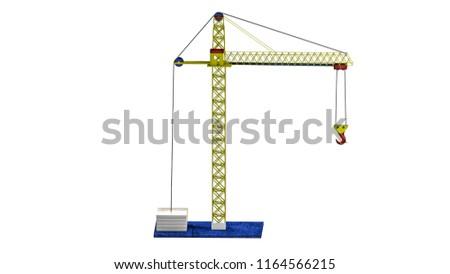 Threedimensional Model Toy Crane 3 D Rendering Stock Illustration