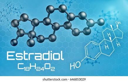 Three-dimensional molecular model of Estradiol - 3d render