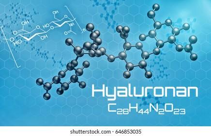 Three-dimensional molecular model of Hyaluronan - 3d render