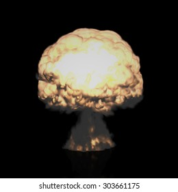 The Three-dimensional Mushroom Cloud of Nuclear Explosion symbolizing Global War issues, Environmental Protection and the Danger of Nuclear Energy (Rendering in 3D Program).