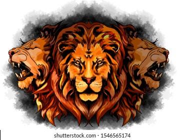 three-headed lion, brushstroke color illustration
