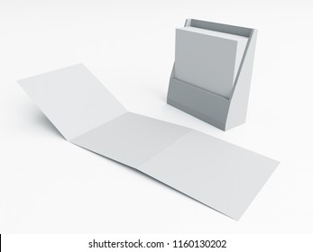 Three-Leaf Brochure Leaflet With Box Container. 3D rendering