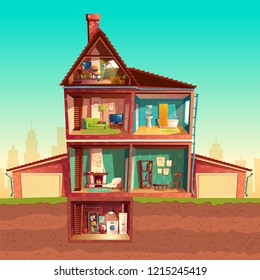 three-story house interior in cross section with basement and garage. Cartoon multistorey private building. Attic, living room, bathroom, laundry in cellar. Architecture background