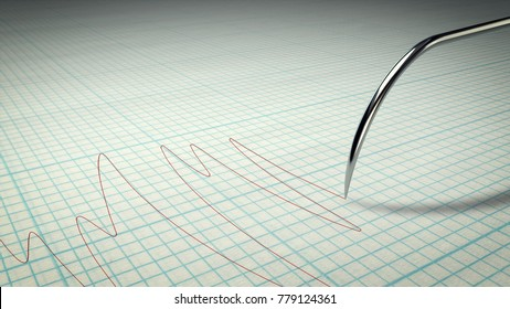 A thrilling 3d illustration of a lie detector with a metallic stylus writing a curvy line on a paper for school copybooks. The lines have different length. It means some person is lying.