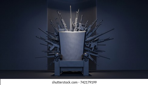 Throne made from weapons 3D Rendering, 3D Illustration