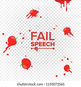 Throw Tomatoes. Having Tomatoes From Crowd. Fail, Unsuccessful, Reverse, Misfortune Concept. Isolated Flat Illustration