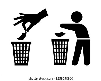 Throwing garbage icons. Tidy man or do not litter symbols, keep clean and dispose of carefully and thoughtfully signs